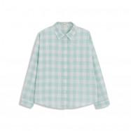 image of 配色格紋長袖棉麻襯衫 Matching Plaid Long-Sleeved Cotton And Linen Shirt