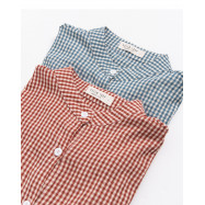 image of 中山領配色格紋襯衫 兩色售 Zhongshan Collar Color Matching Shirt Two Colors