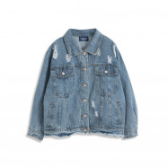image of 刷破設計淺牛仔外套 Brushed Design Denim Jacket