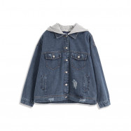 image of 異材質拼接牛仔連帽外套 Different Material Stitching Denim Hooded Jacket