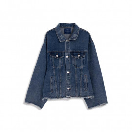 image of 袖開衩鬚邊設計寬版牛仔外套 Sleeve Open And Wide-Width Denim Jacket