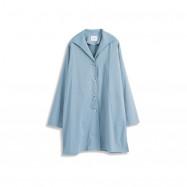 image of 素面翻領風衣長版外套 Plain Lapel Windbreaker Long Coat