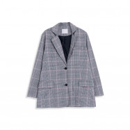 image of 格紋後開衩西裝外套 Checked Plaid Blazer