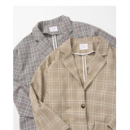 image of 配色格紋西裝外套 兩色售 Matching Plaid Suit Jacket Two Colors