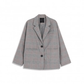 image of 雙口袋格紋西裝外套 Double Pocket Plaid Blazer