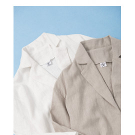 image of 單釦雙口袋麻棉西裝外套 兩色售 Single Button Double Pocket Linen Cotton Blazer Two Colors