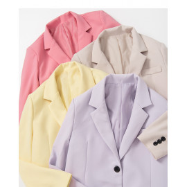image of 質感素面西裝外套 四色售 Textured Plain Blazer Four Colors