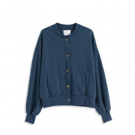 image of 圓領素面排扣設計棉質外套 Round Neck Plain Buckle Design Cotton Coat