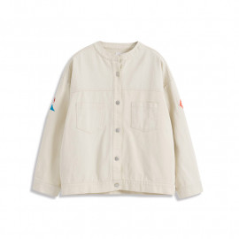 image of 刺繡富士山繡花斜紋銀釦外套 Embroidered Mt. Fuji Embroidered Twill Silver Button Jacket
