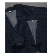 image of 格紋綁帶設計和服外套 Plaid Strap Design Kimono Jacket