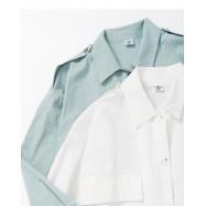 image of 簡約素色大口袋長袖棉麻外套 兩色售 Simple Plain Large Pocket Long Sleeve Cotton And Linen Jacket