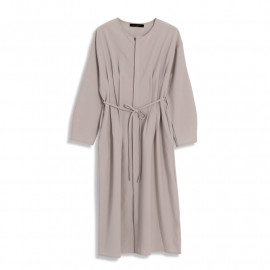 image of 質感素面打褶綁帶洋裝 Textured Plain Pleated Strap Dress