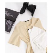image of  純色V領收腰洋裝 兩色售 Solid Color V-Neck Waist Dress Two Colors