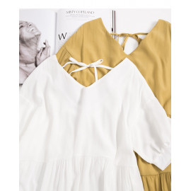 image of 簡約素色後綁帶蛋糕造型長洋裝 兩色售 Simple Plain Color Tie-Up Cake Shape Long Dress Two Colors