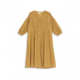 image of 素色壓褶蕾絲澎澎袖V領長洋裝 Plain Pleated Lace Sleeves V-Neck Long Dress