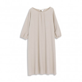 image of 素色抓皺造型棉麻長版洋裝 Plain Color Wrinkle Shape Cotton And Linen Long Dress