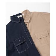 image of 撞色車線口袋襯衫領洋裝 兩色售 Contrast Car Line Pocket Shirt Collar Dress Two Colors