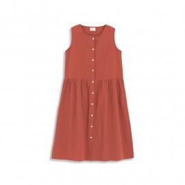 image of 純色無袖排釦洋裝 Solid Color Sleeveless Buckle Dress