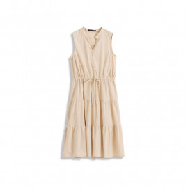 image of 小V領無袖抽繩蛋糕設計洋裝 Small V-Neck Sleeveless Drawstring Cake Design Dress