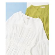 image of V領流蘇抽繩設計蛋糕洋裝 兩色售 V-Neck Tassel Drawstring Design Cake Dress Two Colors