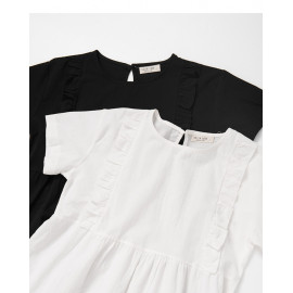 image of 簡約素色荷葉邊造型蛋糕洋裝 兩色售 Simple Plain Ruffled Styling Cake Dress Two Colors