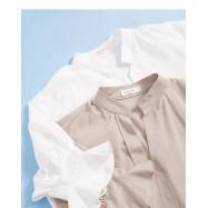 image of 簡約素色V領設計棉麻上衣 兩色售 Simple Plain V-Neck Design Cotton And Linen Top Two Colors