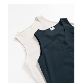 image of 排釦設計棉麻無袖洋裝 兩色售 Breasted Design Cotton And Linen Sleeveless Dress Two Colors