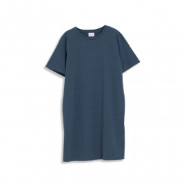 image of 麻棉素面側開衩長版洋裝 三色售 Hemp Cotton Side Open Long Dress Three Colors