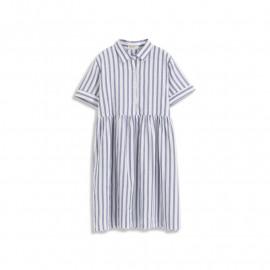 image of 直條紋抓皺設計襯衫式洋裝 Straight Striped Wrinkle Design Shirt Dress