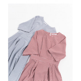 image of 可愛配色格紋短袖洋裝 兩色售 Cute Color Check Short-Sleeved Dress Two Colors