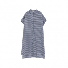 image of 配色格紋連袖長版棉麻洋裝 Matching Plaid Sleeves Long Sleeve Cotton And Linen Dress