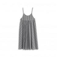 image of 黑白格紋細肩吊帶棉麻洋裝 Black And White Plaid Thin Shoulder Strap Cotton And Linen Dress