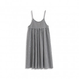 image of 黑白格紋細肩吊帶棉麻洋裝 Black And White Plaid Thin Shoulder Strap Cotton And Linen Dress