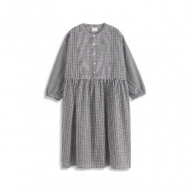 image of 黑白拚格組合中山領長袖棉麻洋裝 Black And White Combination Lattice Zhongshan Collar Long-Sleeved Cotton And Linen Dress