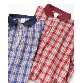 image of 羅紋襯衫領格紋短袖洋裝 兩色售 Ribbed Shirt Collar Plaid Short-Sleeved Dress Two Colors
