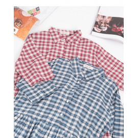image of 配色小格紋襯衫洋裝 兩色售 Color Matching Small Check Shirt Dress Two Colors