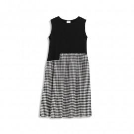 image of 黑白格紋不規則拼接無袖洋裝 Black And White Plaid Irregular Stitching Sleeveless Dress