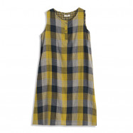 image of 拼色格紋棉麻無袖長版洋裝 Colorblock Check Cotton And Sleeveless Long Dress