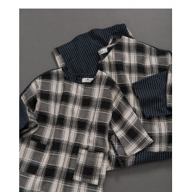 image of 童裝 親子系列格紋腰綁帶棉麻洋裝 Children's Wear Parent-Child Series Plaid Waistband Cotton And Linen Dress