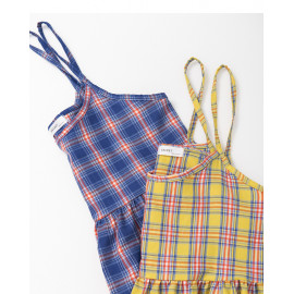 image of 童趣配色格紋細肩娃娃洋裝 兩色售 Childlike Color Matching Plaid Shoulder Doll Dress Two Colors