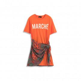 image of 配色字母腰帶造型短袖洋裝 Color Matching Letter Belt Shape Short-Sleeved Dress
