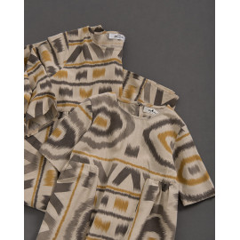 image of 童裝 親子系列 幾何棉麻印花洋裝 Children's Wear Parent-Child Series Geometric Cotton And Linen Printed Dress