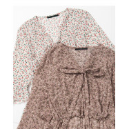image of V領碎花附綁帶洋裝 兩色售 V-Neck Floral With Strap Dress Two Colors