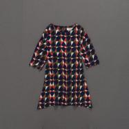 image of 童裝 親子系列幾何印花短袖洋裝 Children's Wear Parent-Child Series Geometric Print Short-Sleeved Dress