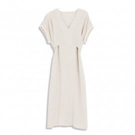 image of V領花邊袖造型棉麻洋裝 V-Neck Lace Sleeves Style Cotton And Linen Dress