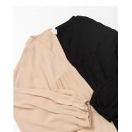 image of 簡約素色V領抓皺棉麻長洋裝 兩色售 Simple Plain V-Neck Wrinkle Cotton And Linen Long Dress Two Colors
