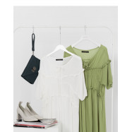 image of 抓皺綁帶荷葉造型洋裝 兩色售 Wrinkle Straps Lotus Leaf Shape Two Colors