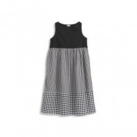 image of 拼接條紋格紋設計無袖洋裝 Stitched Striped Plaid Design Sleeveless Dress