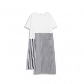 image of 不對稱條紋下襬拼接造型短袖洋裝 Asymmetrical Striped Hem Stitching Short-Sleeved Dress