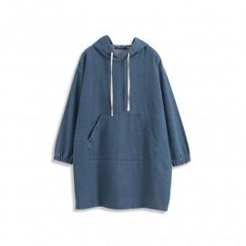image of 基本休閒口袋抽繩連帽洋裝 Basic Casual Pocket Drawstring Hooded Dress